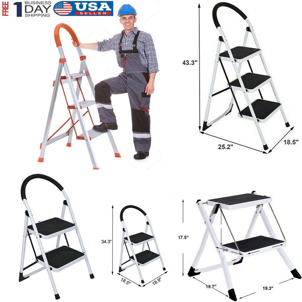 Heavy Duty 2 3step Ladder Anti Slip Folding Platform Stool 330lbs Capacity