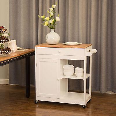 Glitzhome Wood Storage Cabinet Trolley Rolling Kitchen Cart Island Dining Table 6952658836217 Ebay