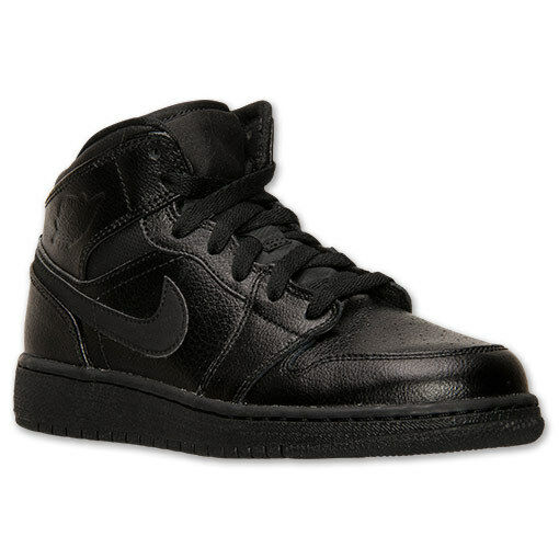 Nike Air Jordan 1 Mid BG Kids Shoes Black Black Size 5.5 554725 030  eBay