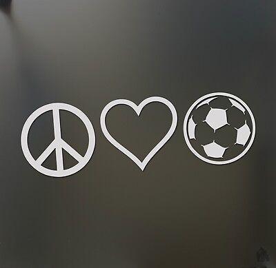 "Peace Love Soccer Car Truck Bumper Window Wall JDM Fun 7/"" Vinyl Decal Sticker"