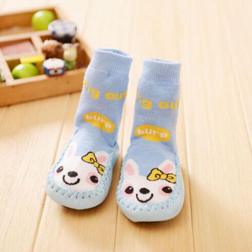 Newborn Baby Boy Girls Anti-slip Sock Shoes Cartoon Boots Slipper Socks 0-24M CC