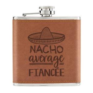 Nacho-Moyenne-Fiancee-170ml-Cuir-PU-Hip-Flasque-Fauve-Worlds-Best-Drole-Awesome