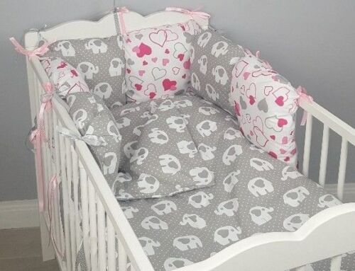 CASES grey elephants hearts pink 8 pc cot //cot bed bedding sets PILLOW BUMPER