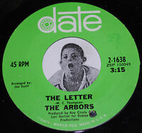 """Garage 45~THE ARBORS~The Letter / Most Of All~Date VG++ 7"""""""