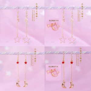 Sweet-Mori-Girl-Ear-Clip-amp-Ear-Hook-Japanese-Kawaii-Star-Moon-Lolita-Earrings