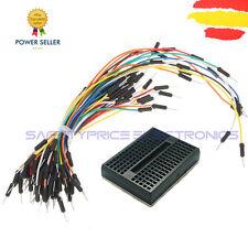 MINI BREADBOARD 170 PUNTOS NEGRO + PACK 65 CABLE JUMPER MACHO arduino pic wire