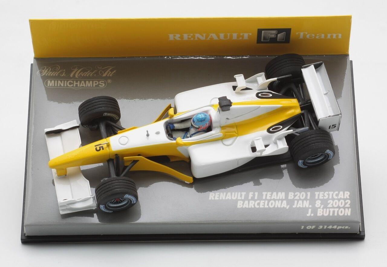 Minichamps Renault F1 B201 Testcar Barcelona 2002 botón botón botón 1 43 a457c5