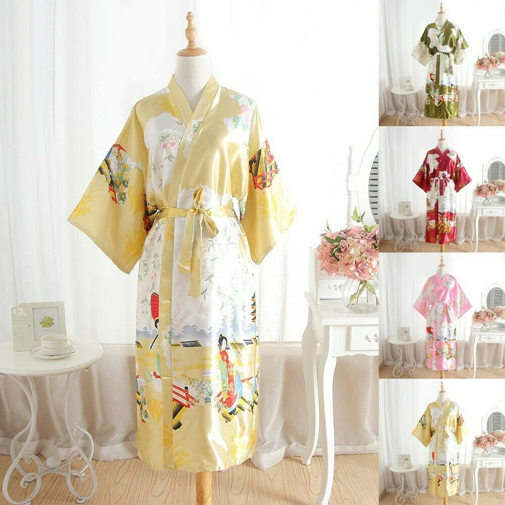 Womens Long Sleeve Printed Satin Silk Kimono Bath Robe Nightwear Dressing Gown