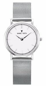 Classic-flache-Damenuhr-Silber-Edelstahl-Milanaise-Armband-Strichindizes-weiss