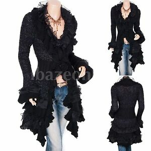 Gorgeous-Ruffles-Lace-Tiered-Hem-Button-Up-Cardigan-Long-Sweater-Jacket