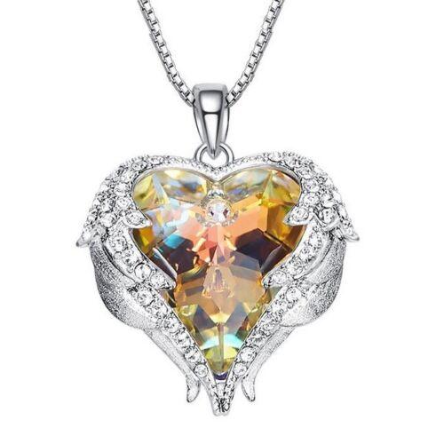925 Sterling Silver Fire Multi-Color Heart Mystic Topaz Pendant Chain Necklaces