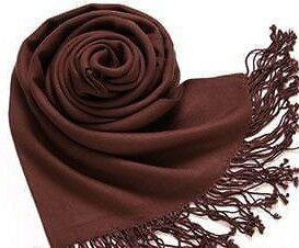 Solid Pashmina Cashmere Silk Black Cream Brown Bule Red Shawl Scarf Stole Wrap