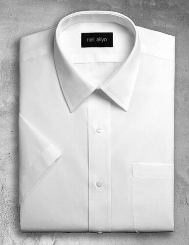 Men/'s White Lay-Down Collar Dress Shirt with short sleeves. Size XS NWT 5XL