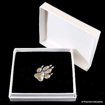 Animal Paw Print Pewter Pin Brooch in Gift Box - Dog Fox Wolf Bear Badge Present