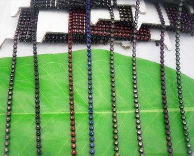 SS6 A Grade glass crystal 2mm Rhinestone black banding Trim Setting chain 10Yard