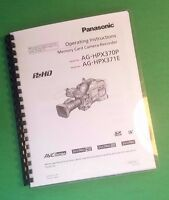 Laser Printed Panasonic Hpx70p Hpx371e Video Camera 176 Page Owners Manual Guide