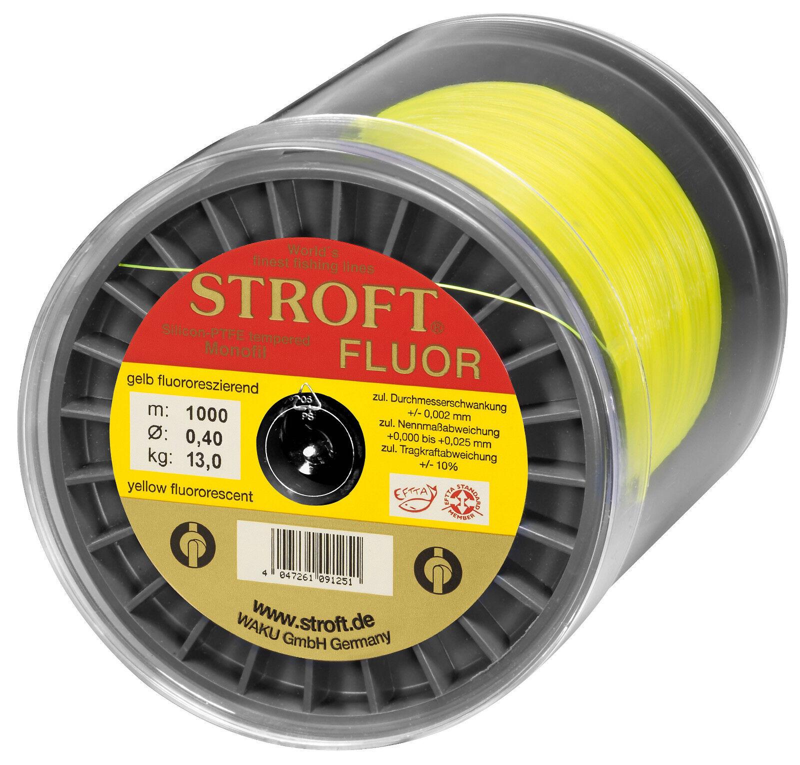 Stroft fluoro 1000 M monofili lenza 0.20 mm a 0.28 mm Gituttio Fosforescente