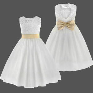 Details About White Dress Princess Party Ceremony Wedding Flower Girls Christening 2 12 Show Original Title