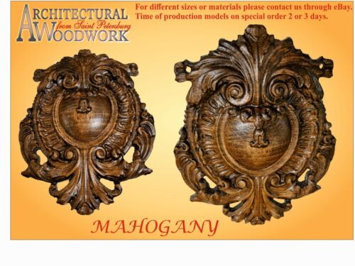 "Hand carved solid Hardwood Applique 6/"" x 4-1//2/"" x 1//2/"""