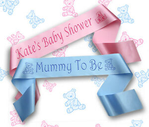 Image Is Loading Personalised Baby Shower Sash Sashes Banners Big Sister