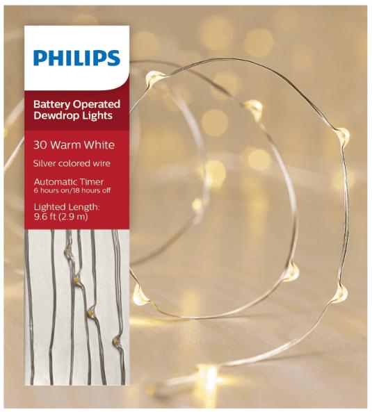 Philips 30ct Navidad Batería Oper. LED Cuerda Fairy Dewdrop Luces Blanco Cálido