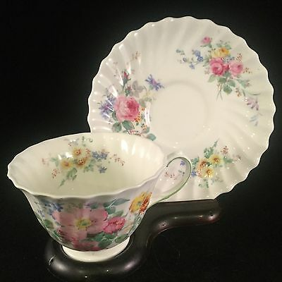 Vintage Royal Doulton Tea Cup Bone China England Arcadia White With Flowers