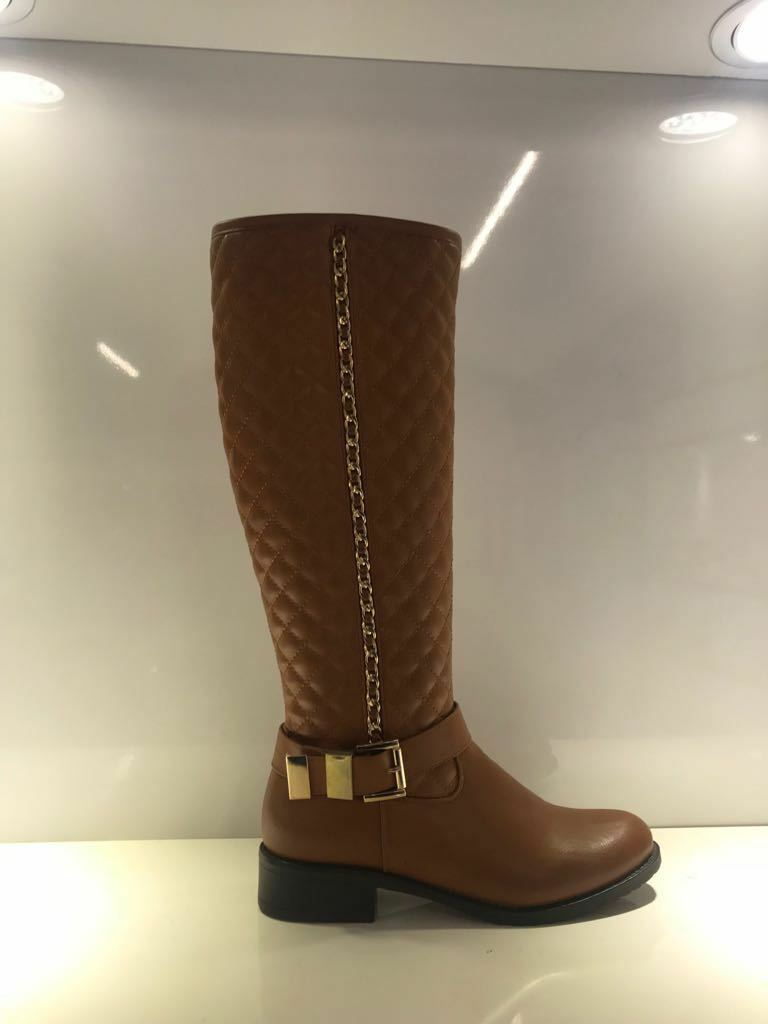 NEW LADIES WINTER WOMENS QUILTED QUILTED WOMENS GOLD CHAIN WARM LOW HEEL KNEE BOOTS SHOES SIZE 4a3f72