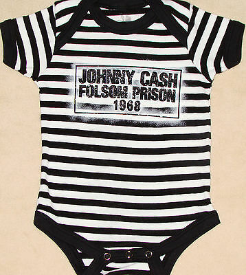Johnny Cash Infant One-Piece Folsom County Prison 1968 Bodysuit NEW 6M 12M 18M