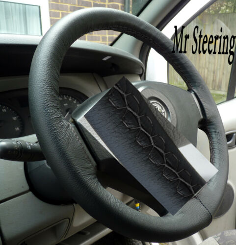 FITS FIAT FIORINO REAL BLACK ITALIAN LEATHER STEERING WHEEL COVER GREY STITCH
