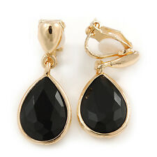 Gold Tone Teardrop Black Faceted Glass Stone Clip On Drop Earrings - 30mm L