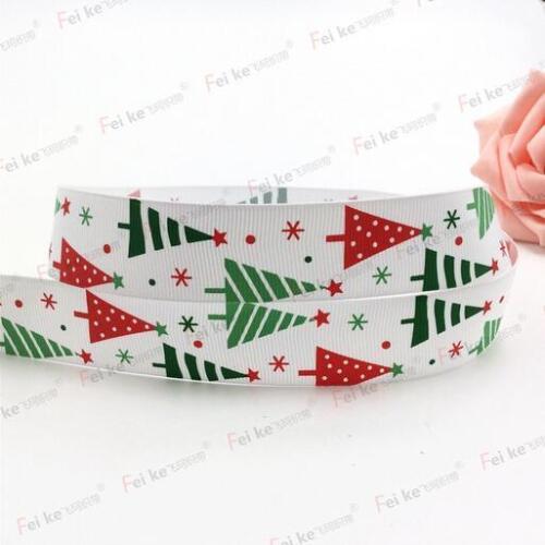 "Christmas tree pattern Christmas Ribbon 1/"" 25mm Grosgrain Ribbon"
