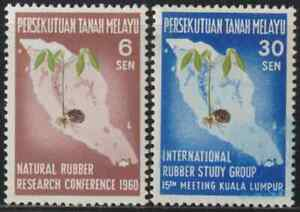 8-MALAYSIA-MALAYA-FEDERATION-1960-NATURAL-RUBBER-SET-2V-FRESH-MNH
