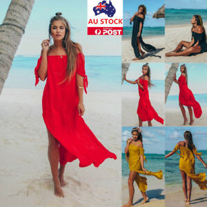 Plus Size Women Off Shoulder Strapless Maxi Dress Summer Beach Party Long Dress