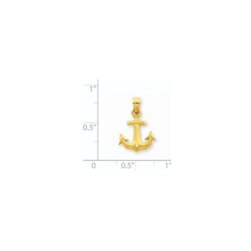 14K Yellow Gold Mini Anchor Charm Pendant MSRP $155
