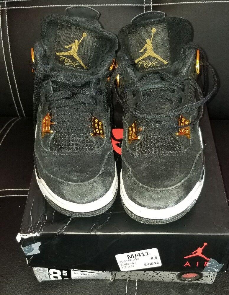 Nike Air Jordan 4 Retro Royalty IV Sz 8.5 Black Suede Metallic Gold Wild casual shoes