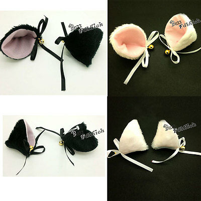 Funny Style Lolita Black/White Mixed Pink Hair Clip Cat Ears Cosplay Accessories
