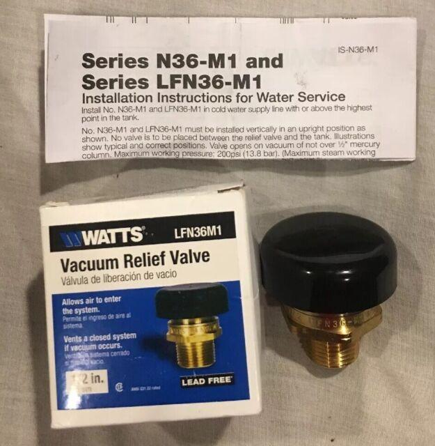 "1//2/"" Watts LFN36-M1-1//2 Lead Free Water Service Vacuum Relief Valve"