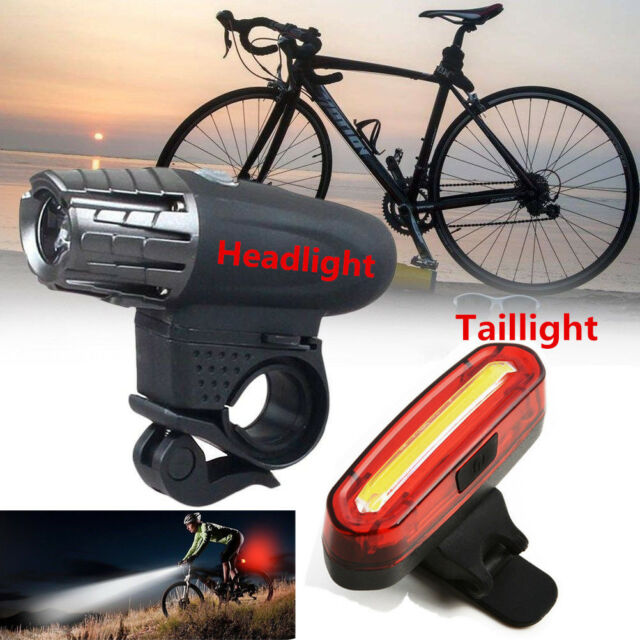 USB Rechargeable LED Bicycle Bright Bike Front Headlight Rear Tail Lamp Set US R