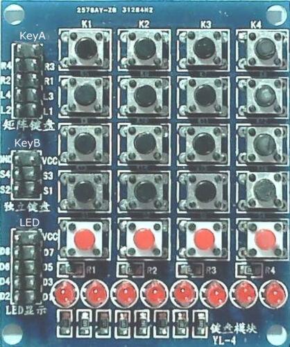 8 leds 4 poussoirs Matrice 4 x 4 Clavier boutons poussoirs tactiles 3 en 1