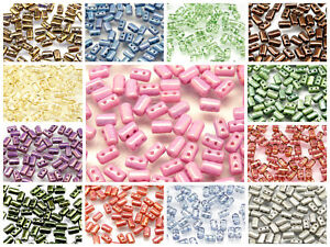 CHOOSE-COLOR-20gr-Czech-Glass-Two-Hole-RULLA-Beads-3x5mm
