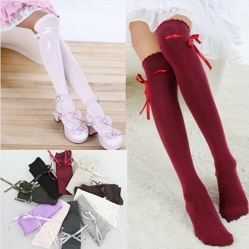 Japanese Harajuku School Girl uniform bowknot Over The Knee Socks