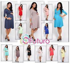 Womens NEW Sensible  Maternity Dress 3/4 Sleeve V-Neck Pregnancy Sizes 8-16 4400