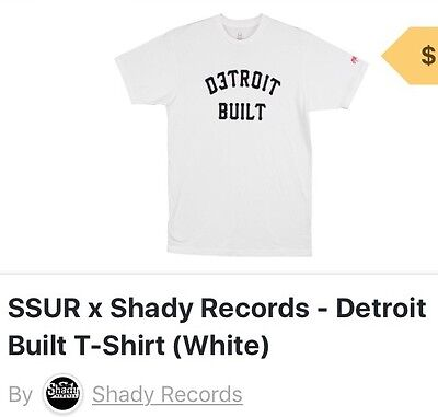 Slim Shady//Eminem Detroit Built Tee Limited Edition Shady App Exclusive Large