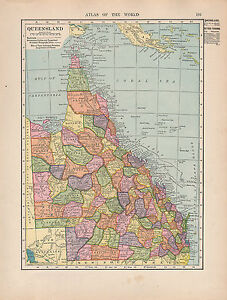1909 MAP ~ AUSTRALIA ~ QUEENSLAND ~ CITIES-TOWNS CAPE YORK BRISBANE ...