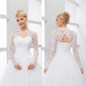Long-Sleeve-Bridal-Wedding-Lace-Jacket-Bolero-Shawl-Wraps-White-Ivory-Custom-New