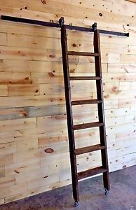 loft ladder kit handrail 7ftdrkwalnutrollinglibraryloftladder ft drk walnut rolling libraryloft ladderincludes 12 steel