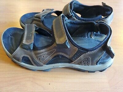 ECCO Yucatan Brown Receptor Tech Leather Sport Sandals EU 45 Men's US 11 11.5 | eBay