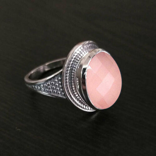 Rose Quartz stone 925 Sterling Silver Antique Ring Jewelry Size 4 To 12 MR-18-6