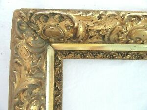 BIG-ANTIQUE-FITS-20-X-27-034-GOLD-PICTURE-FRAME-WOOD-FINE-ART-COUNTRY-ORNATE-GESSO