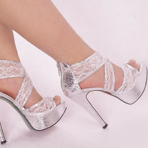 Glitter Silver Ankle Checker Women Shoes Lace Strappy Wedding High